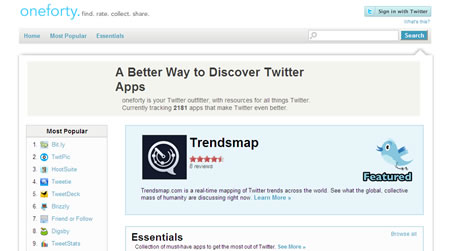 oneforty.com is a website filled with twitter applications