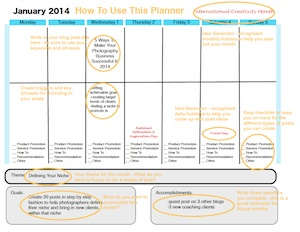 The Social Ghost Blogging Sample Planner Page