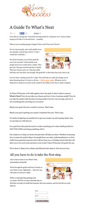 Creating an effective newsletter sign up page 1