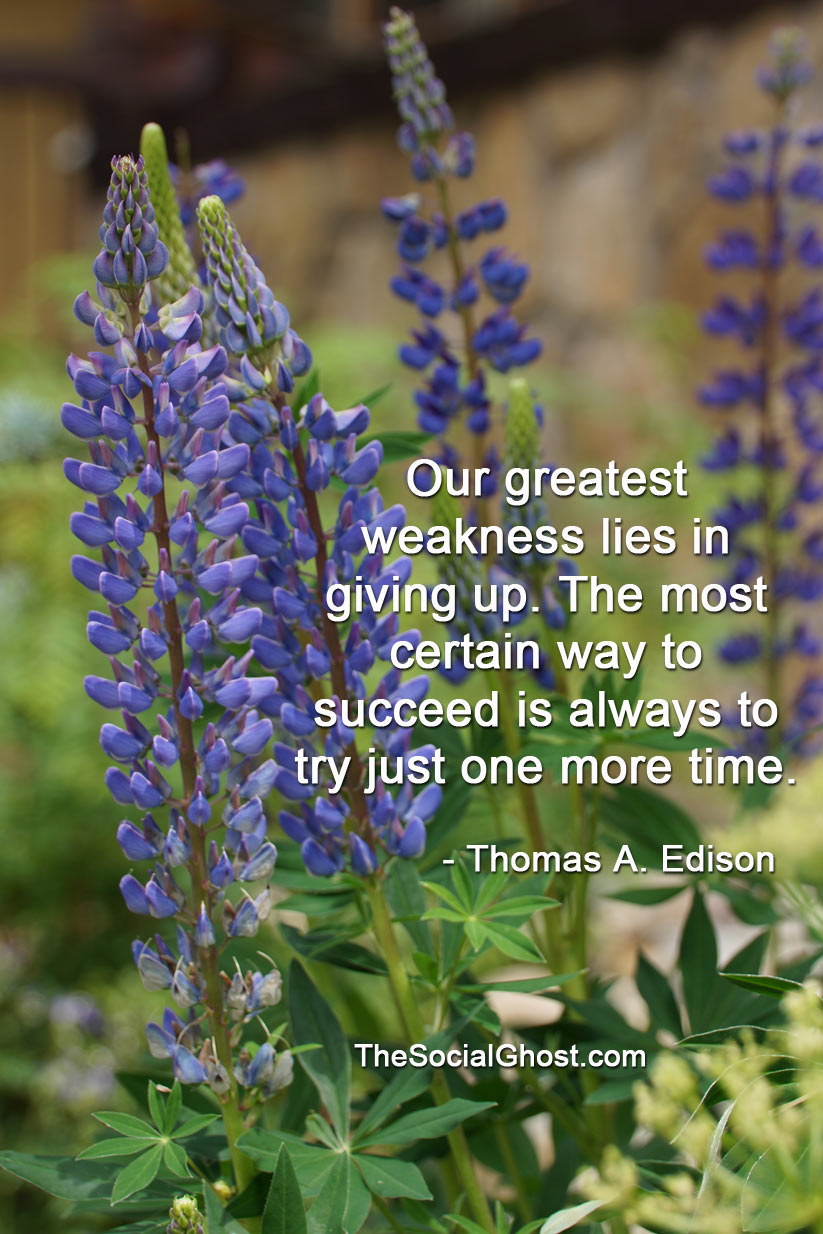 Our greatest weakness lies in giving up. The most certain way to succeed is always to try just one more time.Thomas A. Edison